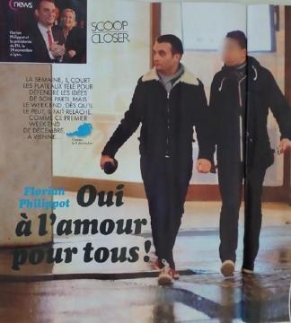 Phillippot 'cazado' por una revista del corazón francesa acompañado de otro hombre y que dio a conocer su orientación sexual.