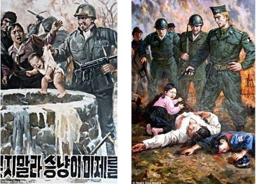 Imagini folosite de propaganda nord-coreeană pentru a exacerba sentimentele antiamericane - Foto: Daily Mail (© News Dog Media)