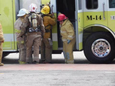 Los bomberos fueron parte vital en el simulacro