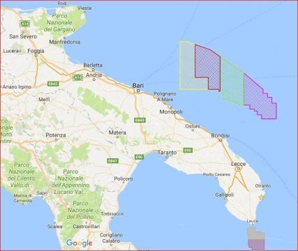 Le due grosse aree destinate al sondaggio del fondale marino salentino e brindisino-barese