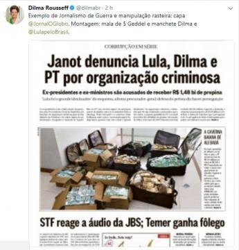 Capa em questão criticada pela ex-presidente Dilma Rousseff