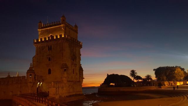 Entardecer magnífico na torre de Belém.