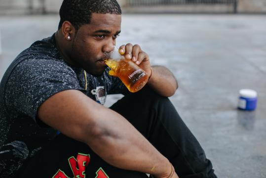 A$AP Ferg drinking a Hennessy cocktail (image use with permission of Hennessy))