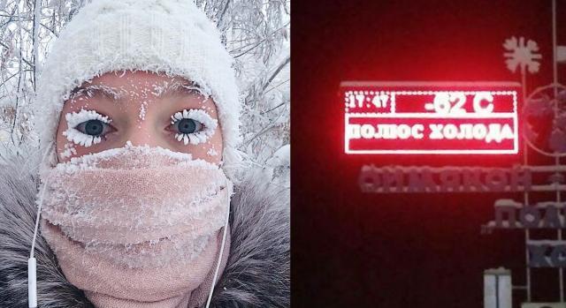 Clima em Oymyakon está tão frio que os cílios dos habitantes locais congelam (Crédito: Siberian Times/Anastasia Gruzdeva)