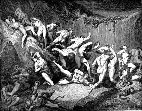 ICU psychosis made me one of these thieves being tortured by serpents in Gustsave's engraving of Dante's Inferno. [Image via Wikipedia Commons]