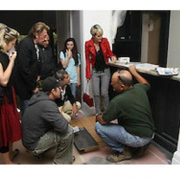 Johnny Hallyday et Laeticia pendant les travaux de la maison de Los Angeles.