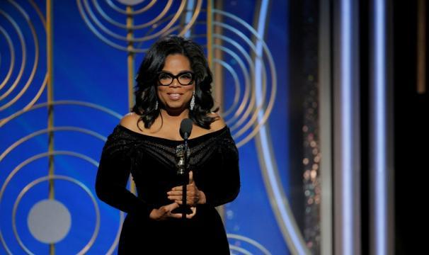 Oprah Winfrey no discurso do Globo de Ouro, janeiro de 2018. Foto: theatlantic.com