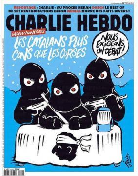 En esta portada, Charlie Hebdo sí que habló de Catalunya, comparándola con Córcega