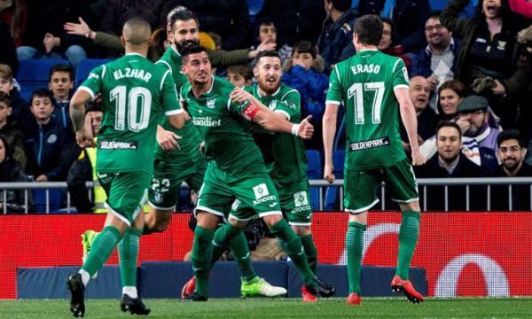 Jugadores del C.D Leganés en cuartos de final de Copa