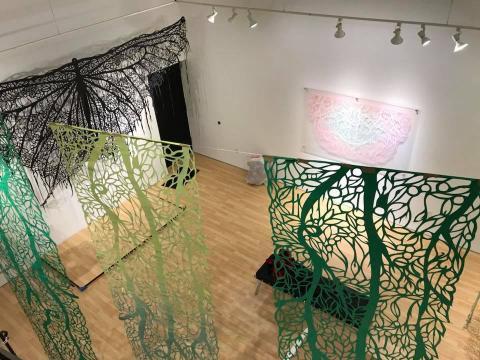 Vista desde lo alto del pasillo en la galería Samara Gallery (Fotografía Vía Facebook de Andrés Paredes).