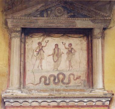 Representación pictórica de un altar durante estas Compitalia romanas