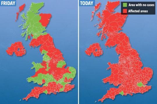 Hartă care arată zonele în care au fost raportate cazuri de gripă australiană în UK