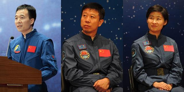 Crew of Shenzhou 9 (Image credit –Johnson Lau, Wikimedia Commons)