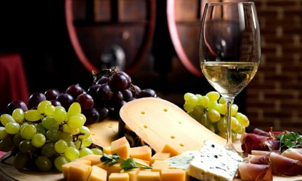 wine tasting with cheese and grapes
