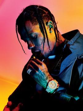 Le rappeur américain Travis Scott, signé sur les labels Grand Hustle et Epic, interprète du tube