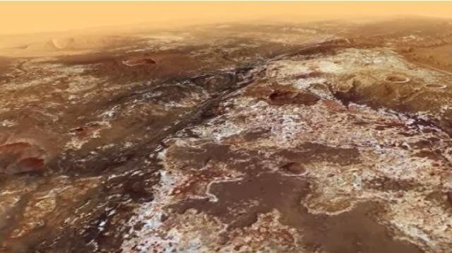 Topography of Mawrth Vallis, another landing site for ExoMars 2020 rover. [Image source/European Space Agency ESA YouTube video]