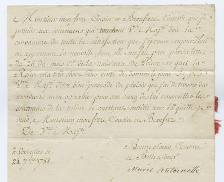 Carta firmada de Maria Antonieta al rey de Nápoles, Fernando IV