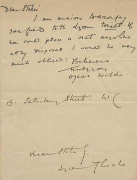 Correspondencia entre Oscar Wilde y Bram Stocker