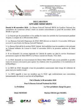 Déclaration du SNJC (c) SNJC Cameroun