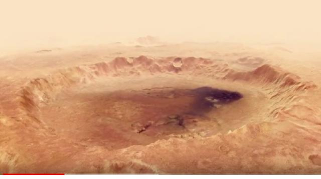 View of 102 km wide Neukum Crater taken by Mars Express. [Image source/Kowch737 YouTube video]