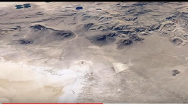 Ancient huge triangular formation found in the Nevada Desert. [Image source/UFOMania – the truth is out there YouTube video]