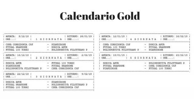Calendario Serie C femminile girone Gold
