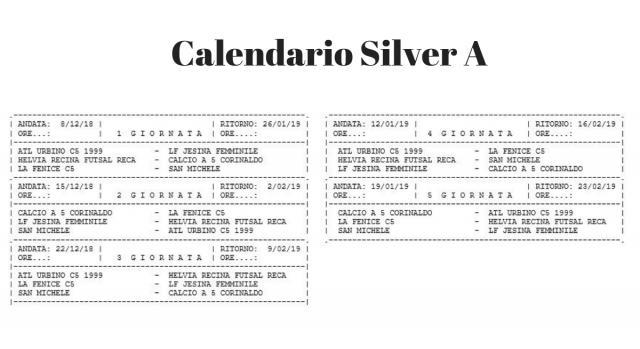Calendario Serie C femminile girone Silver A
