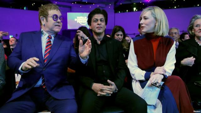 Cate Blanchett, Elton John, Shah Rukh Khan Receive Davos Human ...(Image via: Voanews/Youtube)