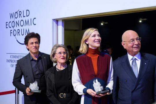 Shah Rukh Khan honoured with WEF's Crystal Award in Davos -.. (Image via IBTimes/Youtube)