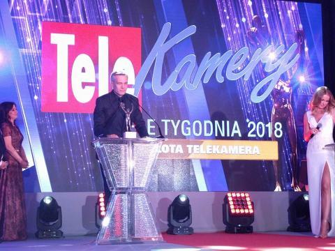 Michał Żebrowski, laureat Złotej Kamery 'Tele Tygodnia' (fot. Facebook/Tele Tydzień)