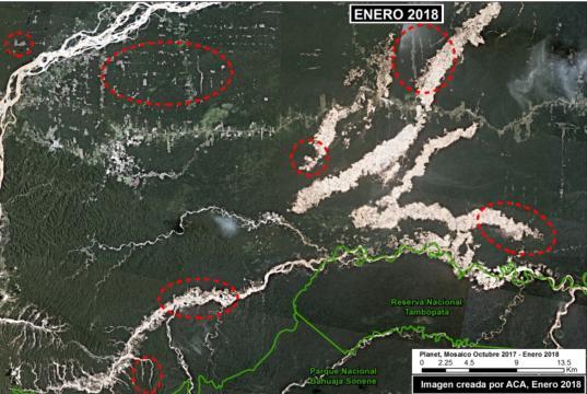 Deforestación al sur de la región de Madre de Dios. Foto: ACCA/MAAP.