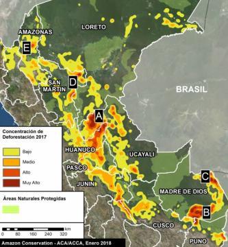 Puntos de concentración de deforestación en el Perú durante 2017. Foto: MAAP/ACCA.