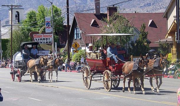 Mule drawn wagons participating in the Bishop Mule Days parade (Image credit – Cullen328, Wikimedia Commons)