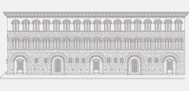 Dibujo del palacio Médici Riccardi