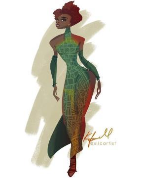 Dessin d'un costume dans Blacks Panther inspiré du Kente. (crédit : compte tweeter Lupita. Nyong'o)