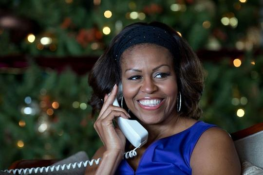 First Lady Michelle Obama on the phone (Image credit - Pete Souza/Wikimedia Commons)