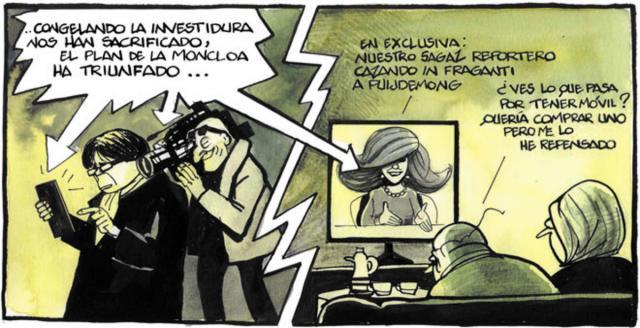 Una de las últimas viñetas de Ferreres, crítica con Ana Rosa Quintana y los SMS que publicó de Puigdemont.