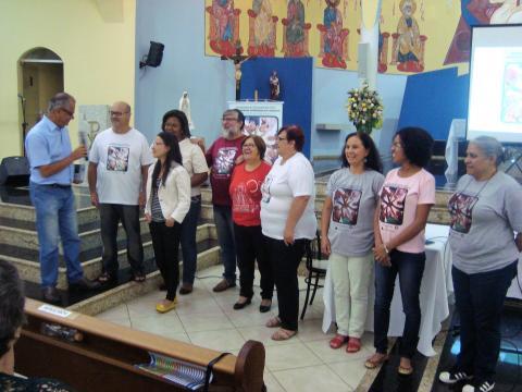 Padre Antônio Frizzo e membros da Comissão da CF na Diocese de Guarulhos.