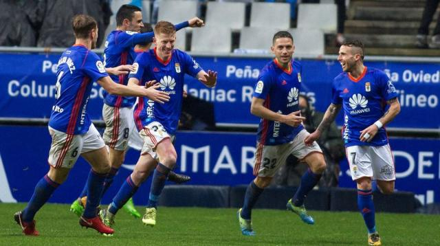 Los jugadores celebran el gol de Mossa Foto: lavozdeasturias.es