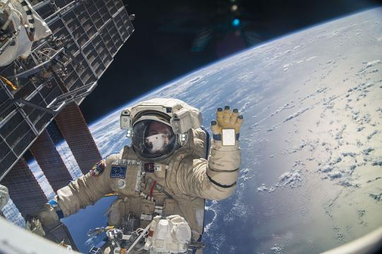Spacewalk by Russian cosmonaut Sergey Ryazanskiy (Image credit NASA, Wikimedia Commons)