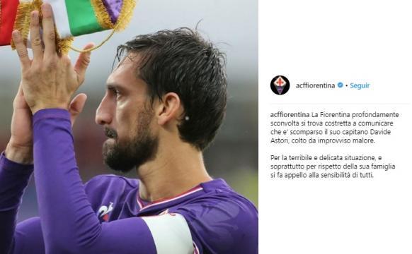 Anúncio da Fiorentina sobre a morte do seu Capitão