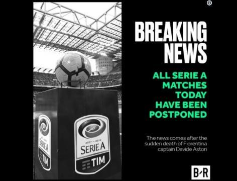 Anúncio do cancelamento dos jogos marcados para a data