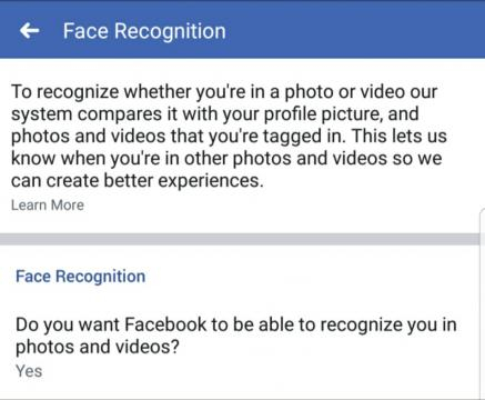 Facebook has put its facial recogniton setting front and center. [img by Matt Mills via Facebook]