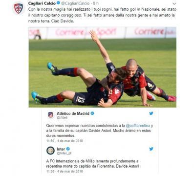 Reacções após a morte de Davide, de vários clubes