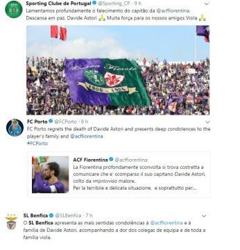 Reacções dos três grandes clubes de Portugal em relação a Astori