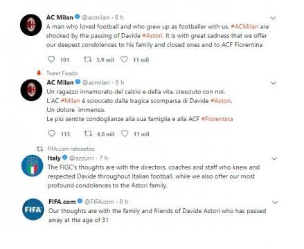 Reacções mais marcantes sobre a morte de Astori