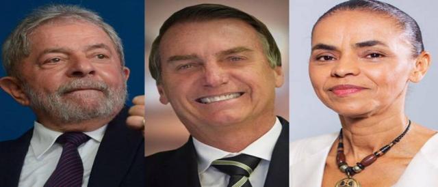 Lula, Bolsonaro e Marina lideram.