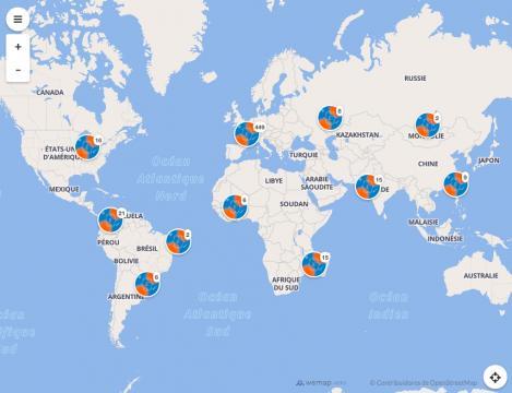Mapa de actividades por el Día Internacional de la Lengua Francesa (Foto cortesía OIF)