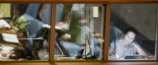 Stand de interpretación en la Cámara del Consejo de Seguridad de Naciones Unidas (Imagen cortesía ONU).