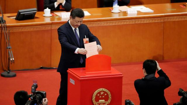 Xi at the comgress where he was anointed president for life. Photo-( image credit-the Guardian-Youtube.com)